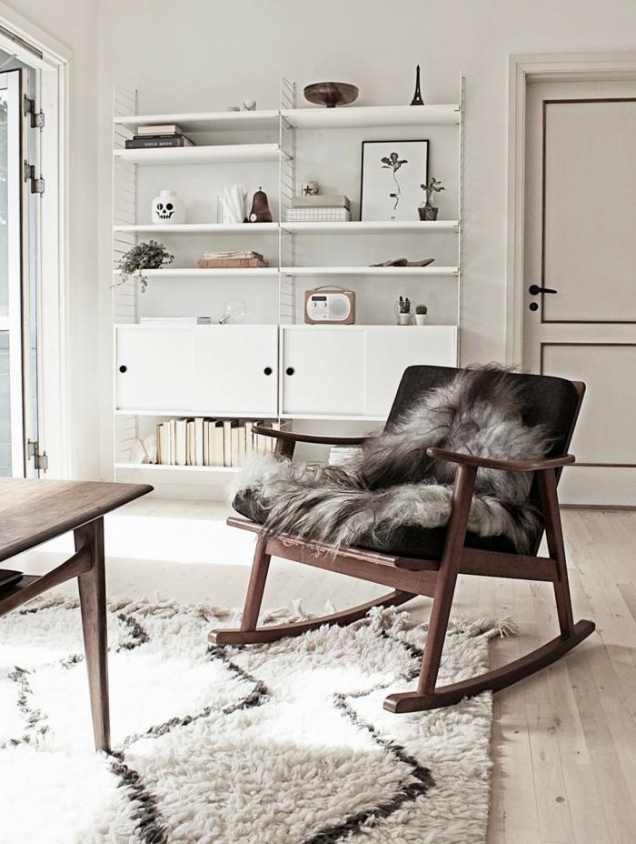 zimmereinrichtung wohnzimmergestaltung ideen skandinavisch schaukelstuhl teppich