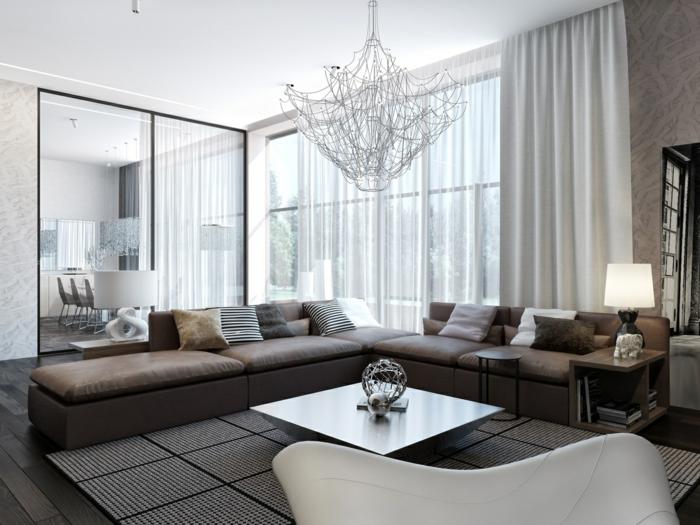 zimmereinrichtung wohnzimmergestaltung ideen spiegeloberflächen ausgefallener leuchter