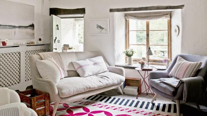 zimmereinrichtung wohnzimmergestaltung ideen winterliche stimmung vintage teppich