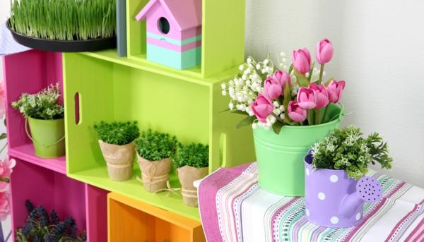 zuhause upcycling ideen holzkisten bunt pflanzenständer