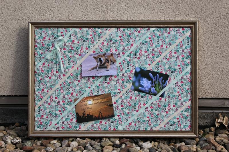 Bilderrahmen basteln Pinnwand aus Bilderrahmen und Stoff basteln