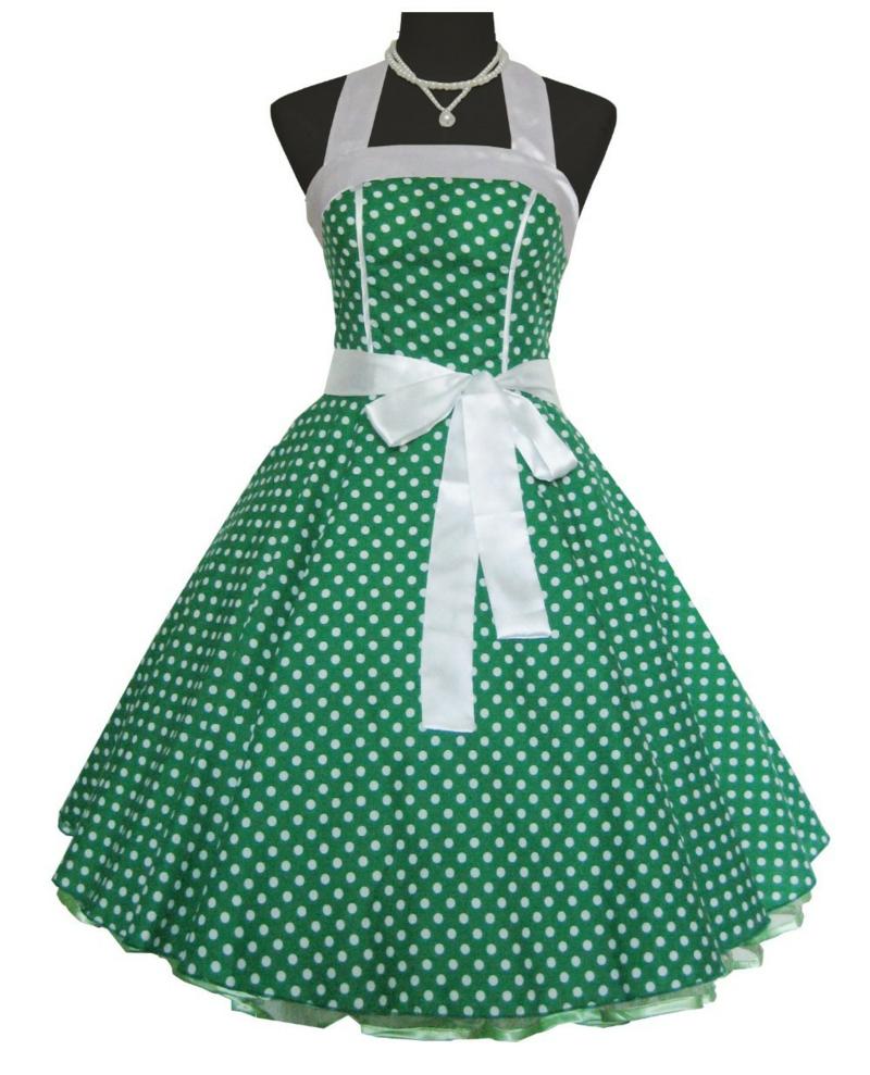 50er Mode Vintage Kleider 50er Retro Kleid grün Püncktchenmuster