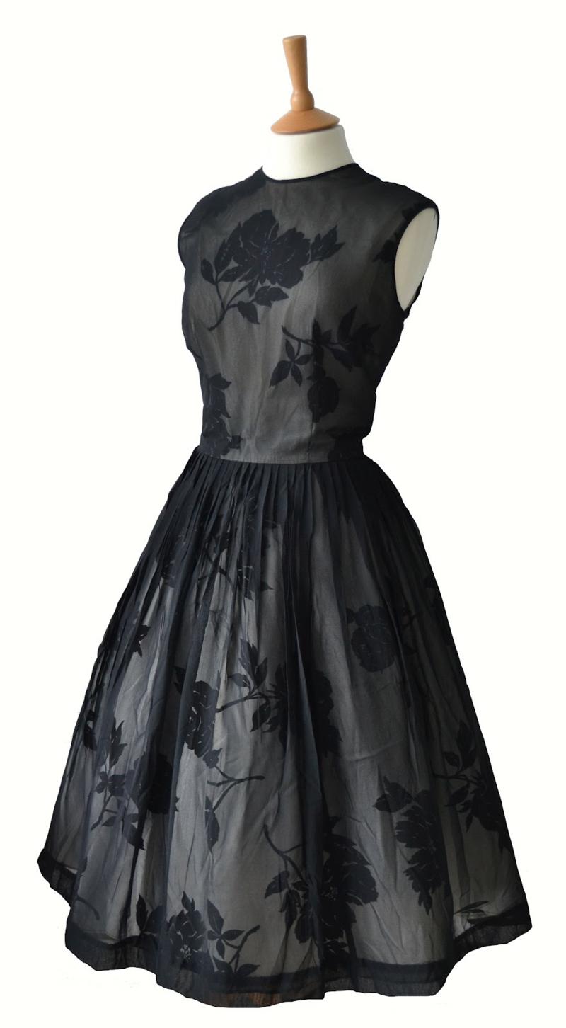 50er Mode Vintage Kleider 50er Retro Spitzenkleid schwarz