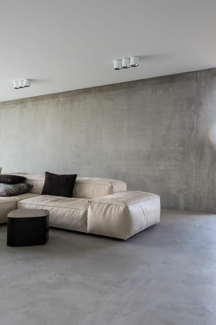 Inneneinrichtung bodenbelag interiordesign beton putz ganz