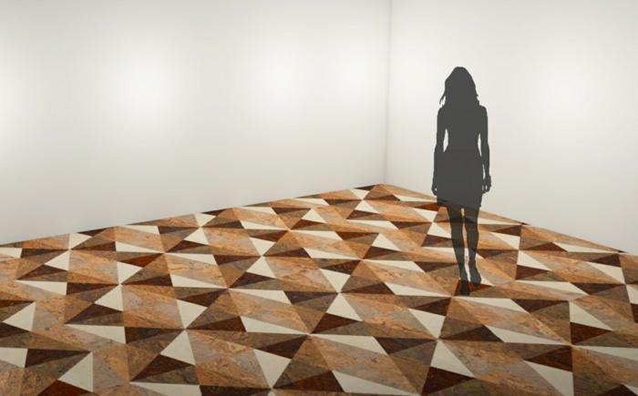 Inneneinrichtung bodenbelag interiordesign korkbioden platten symmetrie