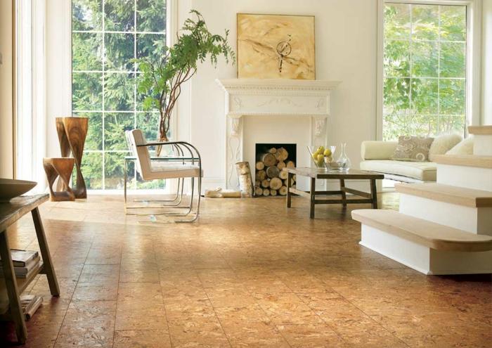 Wohnung einrichten bodenbelag interiordesign korkboden große platten