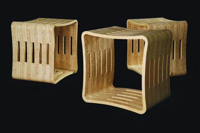 wohnung einrichten bodenbelag interiordesign möbel bambus natur hocker holz
