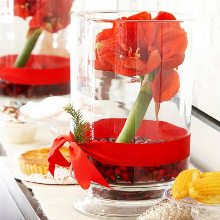 Adventsgesteck selber machen weihnachtliche Tischdeko in Rot
