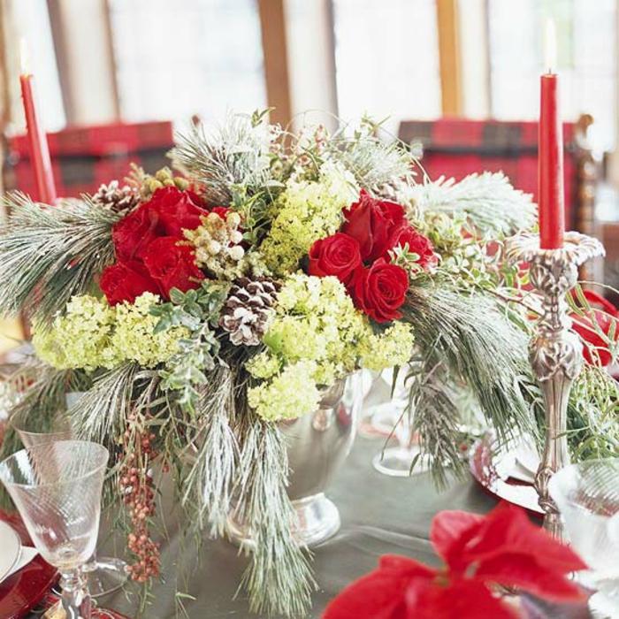 Adventsgestecke basteln festliche Tischdeko zu Weihnachten