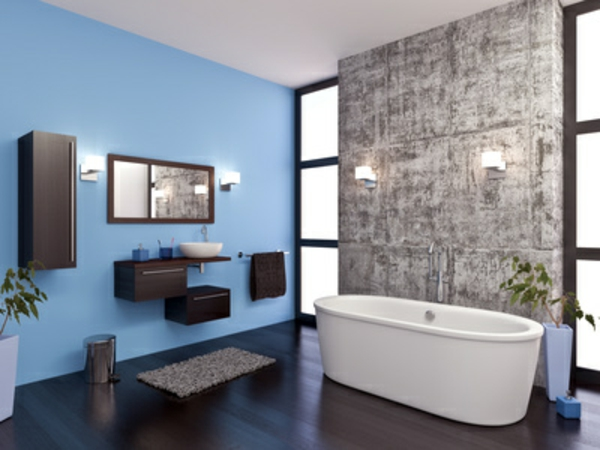 Badgestaltung Ideen Badzubehör Badaccessoires Wandfarbe Blau