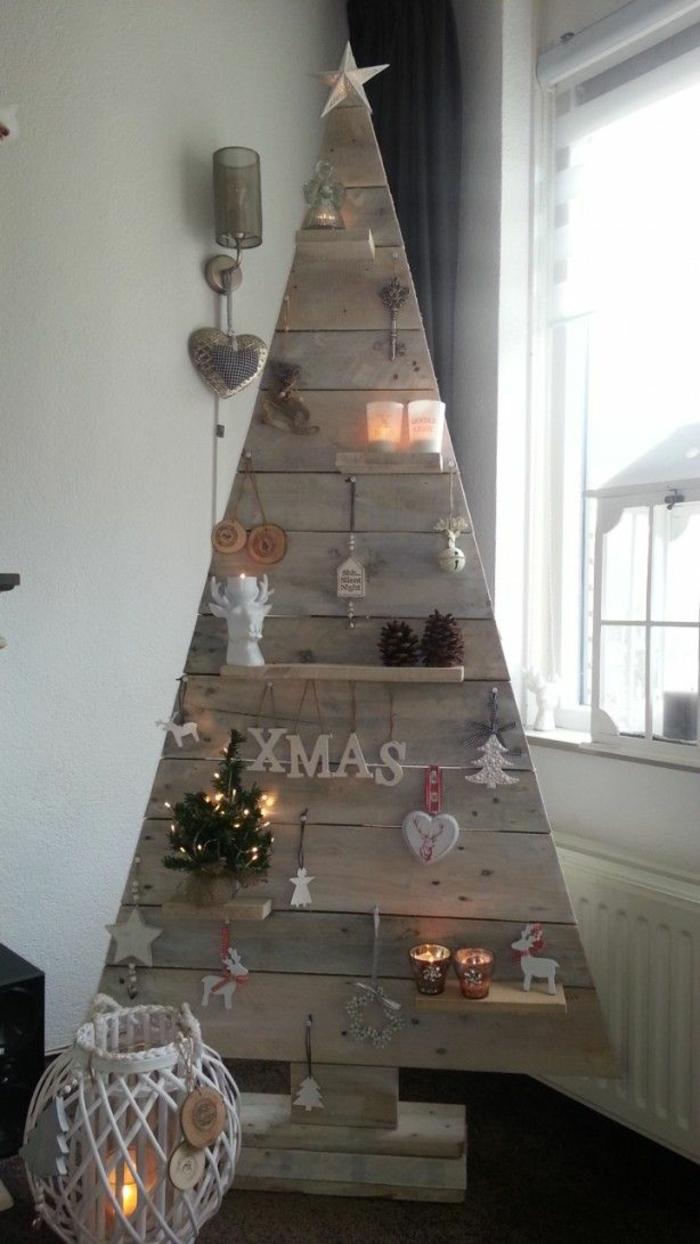 Bastelideen für Weihnachten Weihnachtsbaum aus Holz selber basteln