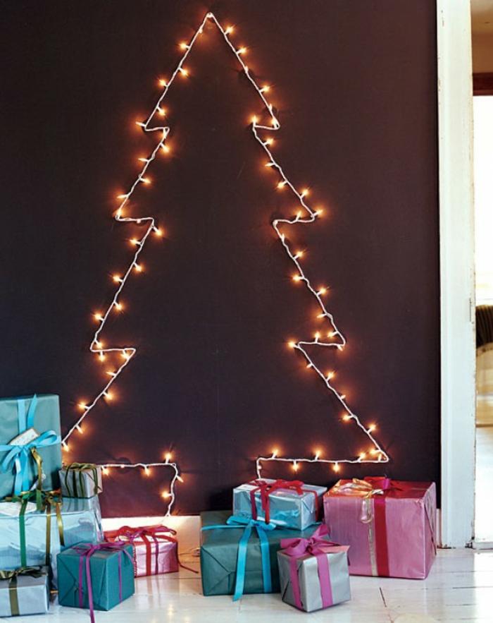 Bastelideen für Weihnachten Weihnachtsbaum basteln Lichterketten