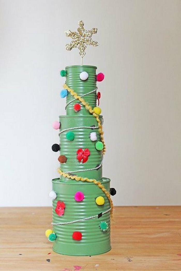 Bastelideen für Weihnachten Weihnachtsbaum basteln aus Konservendosen