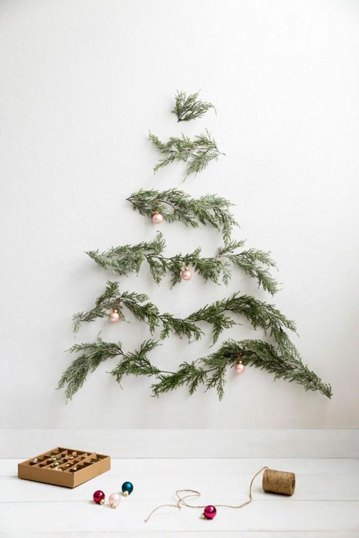 Bastelideen für Weihnachten Weihnachtsbaum basteln immergrüne Zweige