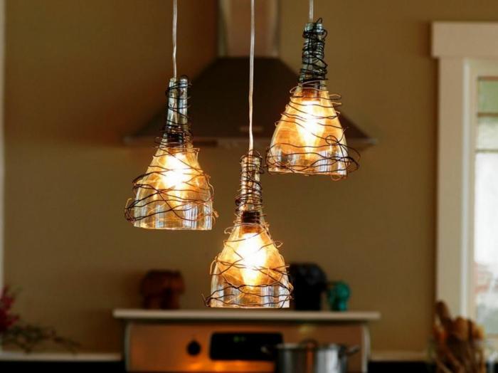 DIY Lampe LAMPEN SELBER machen lampe diy lampenschirme selber machen weinflaschen