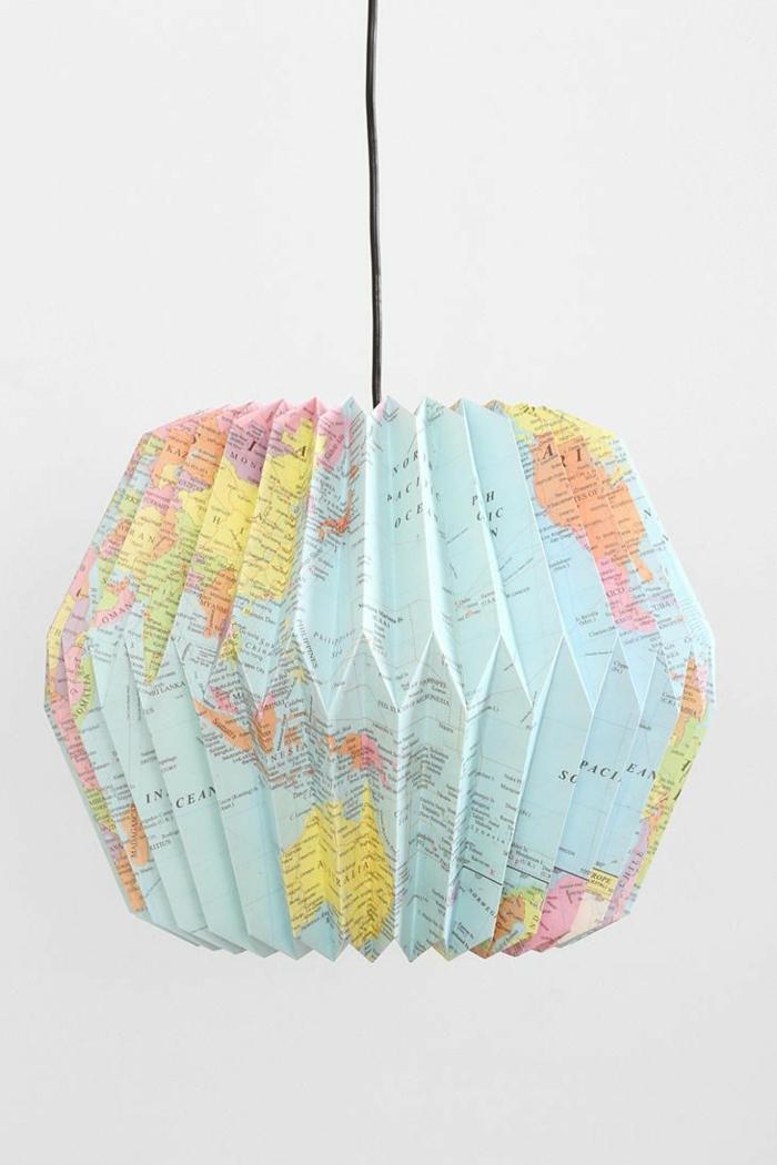LAMPEN SELBER machen lampe diy lampenschirme selber machen weltkarte