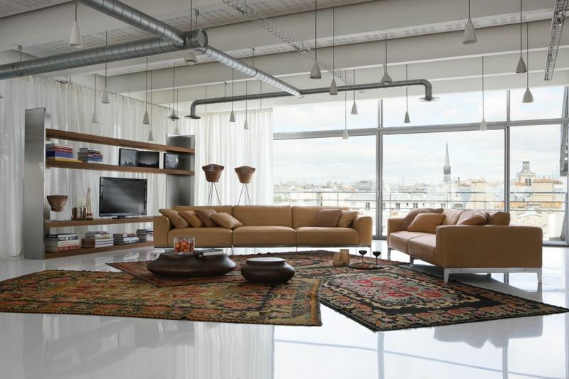 Dekoideen Wohnzimmer einrichten Beispiele Industrialstil Möbel