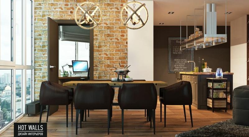 Wohnungseinrichtung Ideen Esszimmer Wand Bachsteinwand