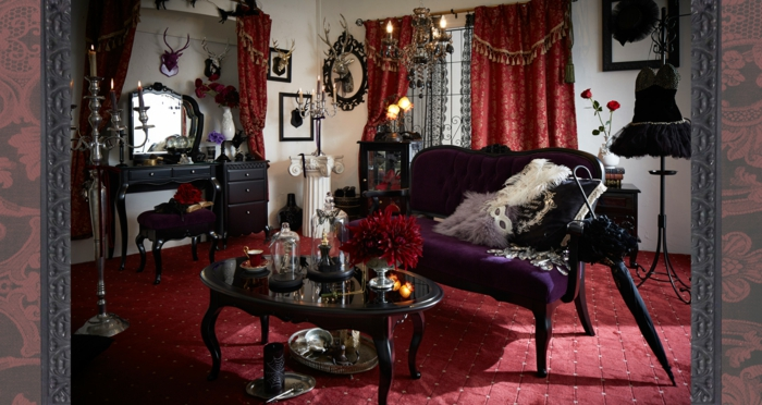 Die Gotik Architektur Merkmale Kunst weisses Badezimmer Gestaltung Design purpur violet silber