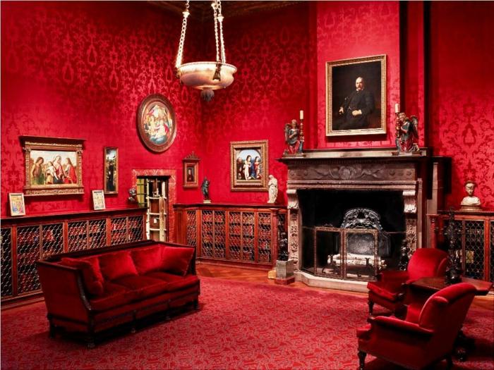 Gotik Architektur Merkmale Kunst weisses Badezimmer Gestaltung Design rotes zimmer