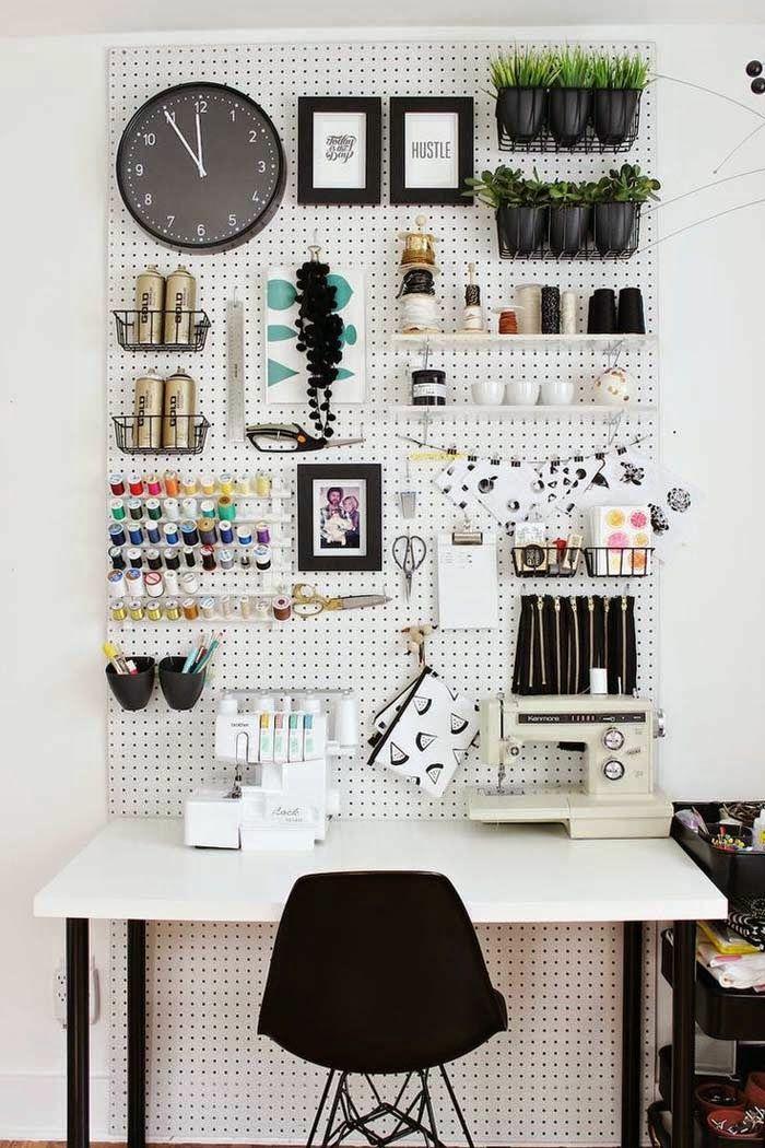 Home Office Möbel Schreibtisch Nähmaschine praktische Wandgestaltung