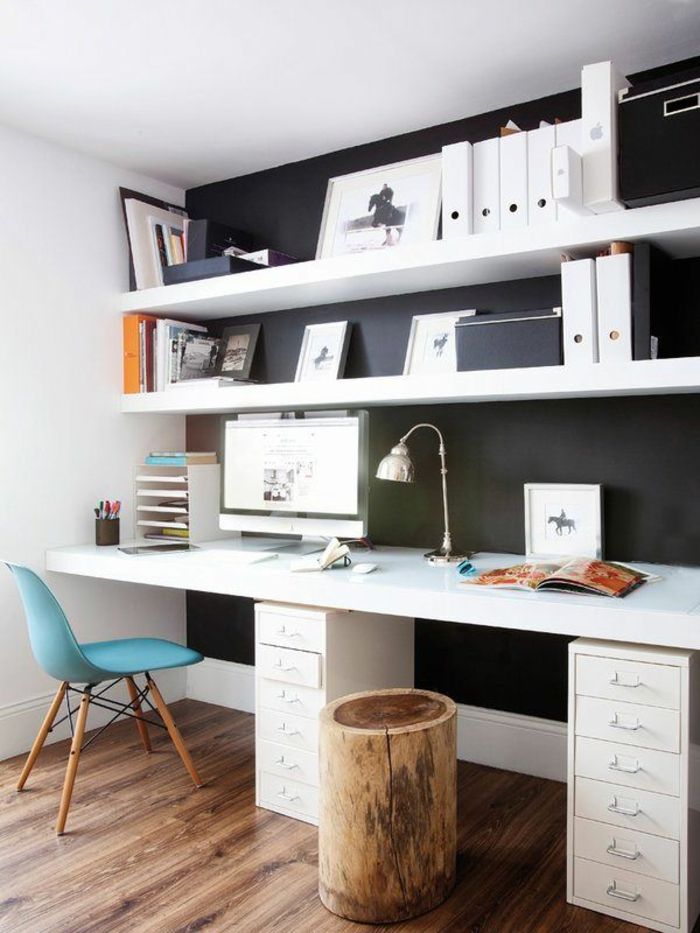 Home Office einrichten Schreibtisch Holz 2 Plätze