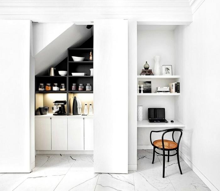 Homeoffice Küchennische kleines Büro einrichten