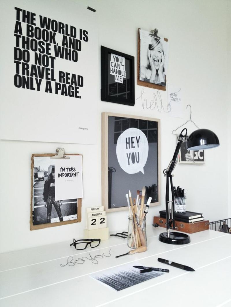 Ideen für kreative Wandgestaltung Arbeitszimmer inspirierende Fotos