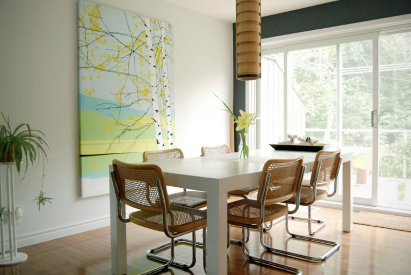 Ideen für kreative Wandgestaltung Esszimmer Wandteppich