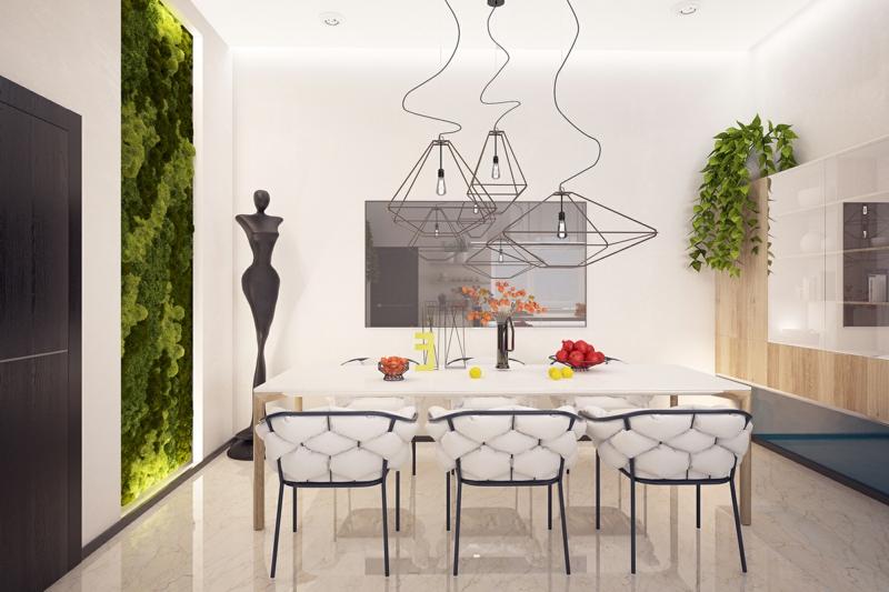 Ideen für kreative Wandgestaltung Esszimmer vertikaler Garten gestalten