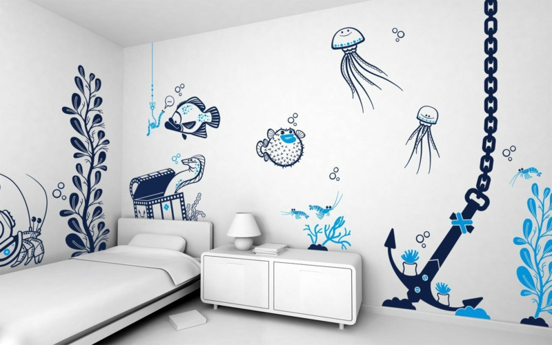 Ideen für kreative Wandgestaltung Jugendzimmer Tapetten Muster
