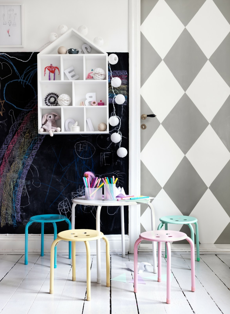 Ideen für kreative Wandgestaltung Kinderzimmer geometrisches Muster erstellen