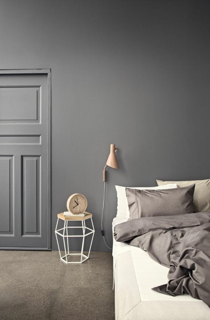 Ideen für kreative Wandgestaltung Schlafzimmer Wandfarbe Grau