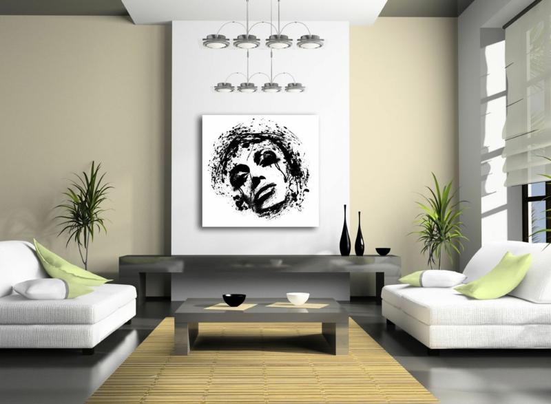 Ideen für kreative Wandgestaltung Wohnzimmer Kunst