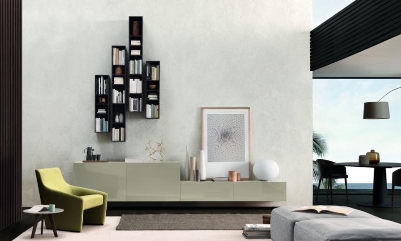 Ideen für kreative Wandgestaltung Wohnzimmer Regale