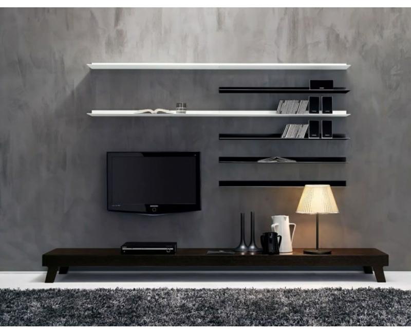 Ideen für kreative Wandgestaltung Wohnzimmer TV Wohnwand Regale