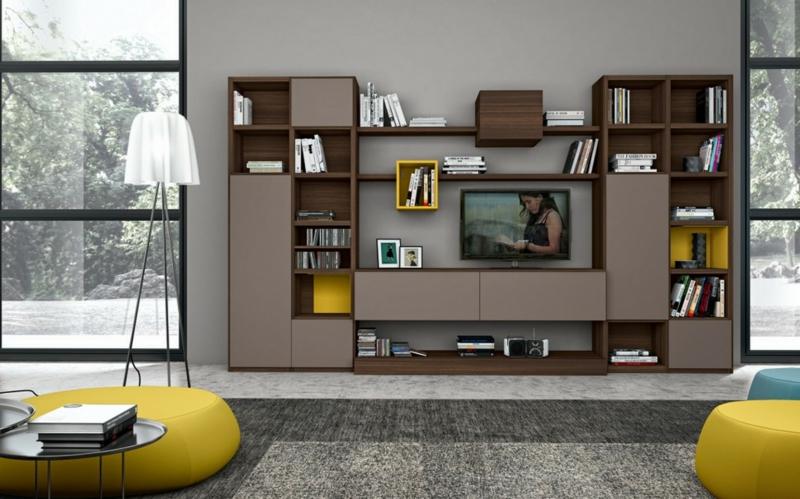 Ideen für kreative Wandgestaltung Wohnzimmer TV Wohnwand offene Regale Holz
