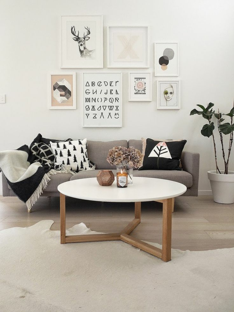 Ideen für kreative Wandgestaltung Wohnzimmer Wanddekoration mit Bildern