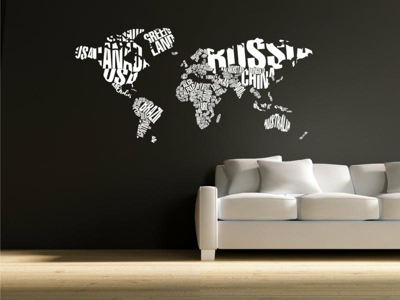 Ideen für kreative Wandgestaltung Wohnzimmer Weltkarte