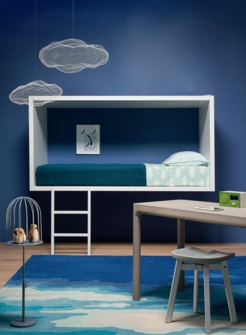 Ideen für kreative Wandgestaltung mit Farbe Kinderzimmer Wandfarbe Blau