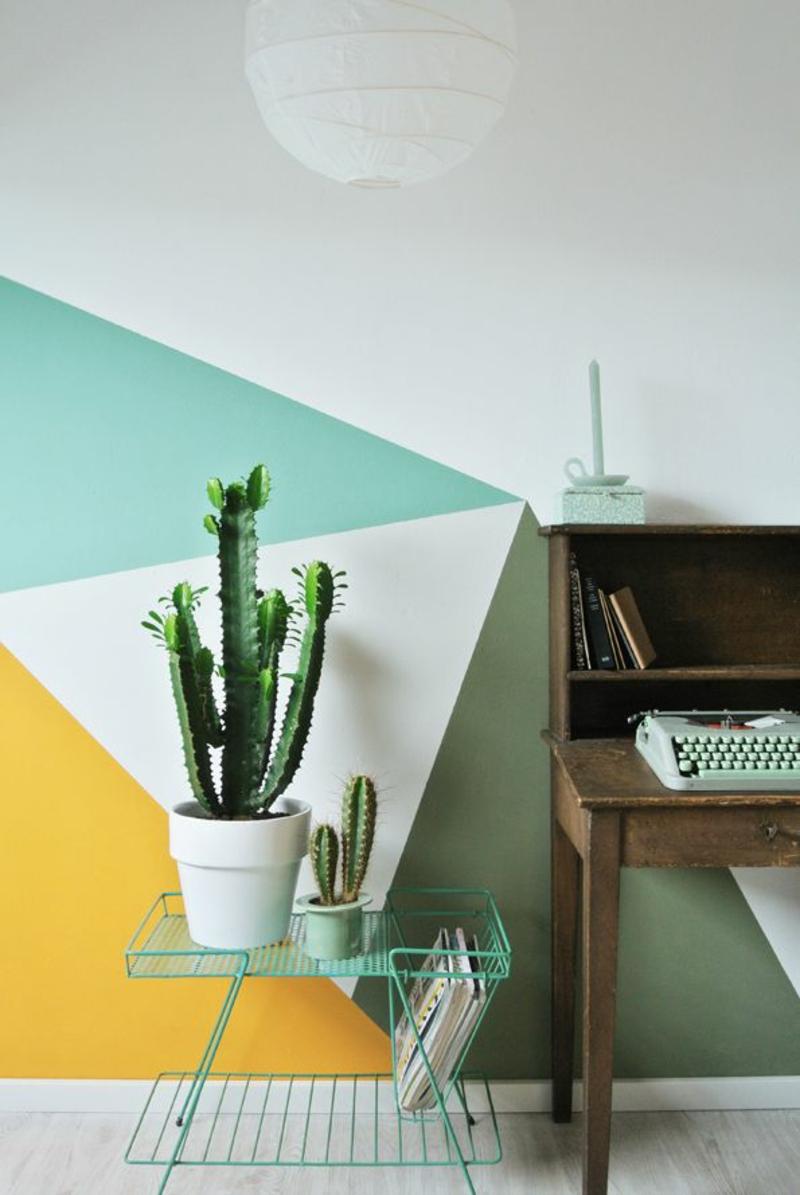 Ideen für kreative Wandgestaltung mit Farbe Zimmerpflanzen Kaktus