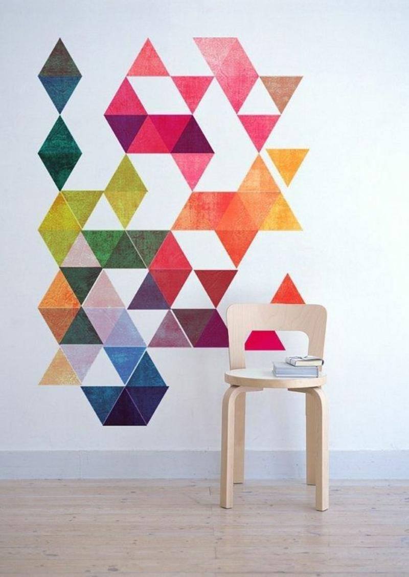 Ideen für kreative Wandgestaltung mit Farbe geomerische Formen