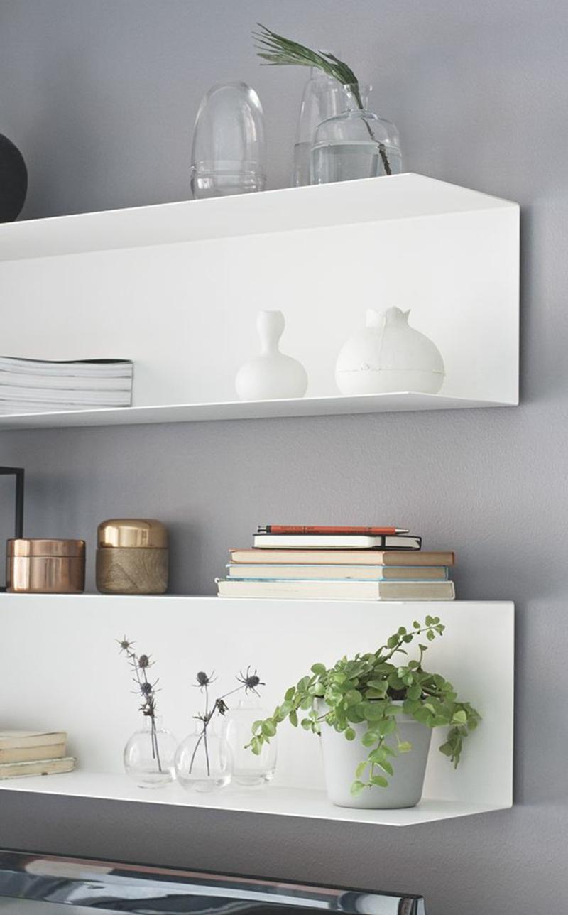 Ideen für kreative Wandgestaltung mit Regalen weiß