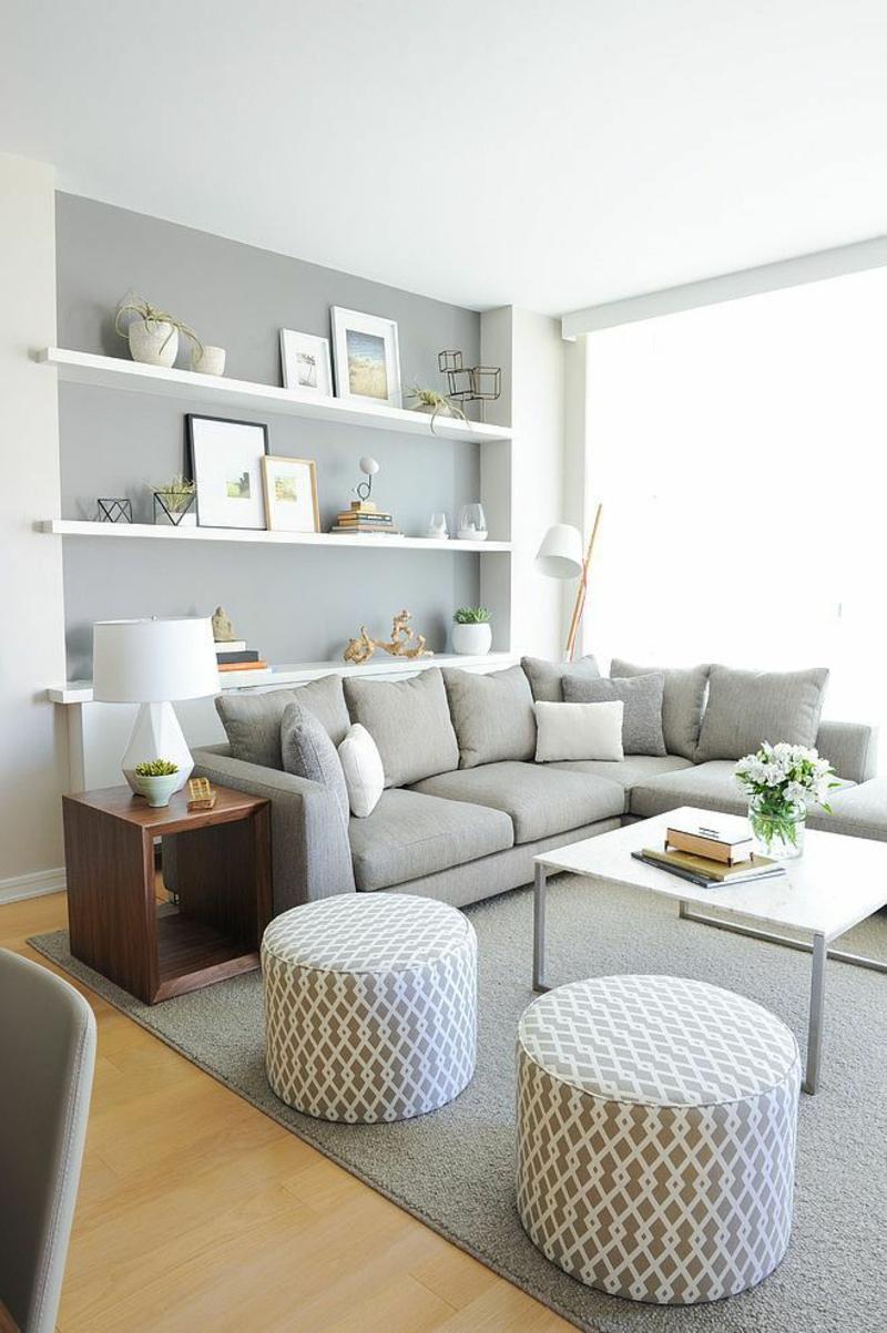 Ideen für moderne Wandgestaltung Wohnzimmer Regale