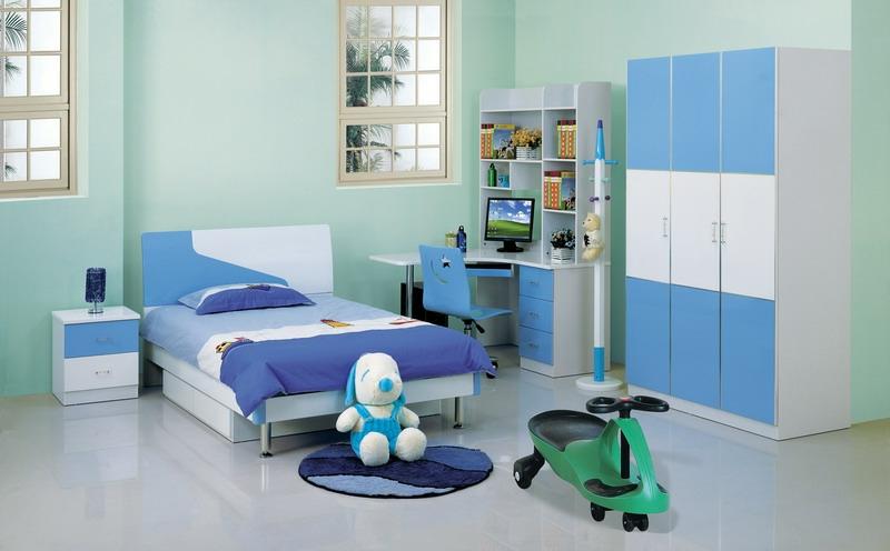Jungen Kinderzimmer komplett Set blau Wandfarbe Mintgrün