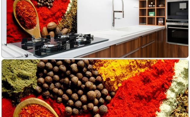 Küchenrückwand-Ideen-Küche-einrichten-Beleuchtung-Holzmöbel