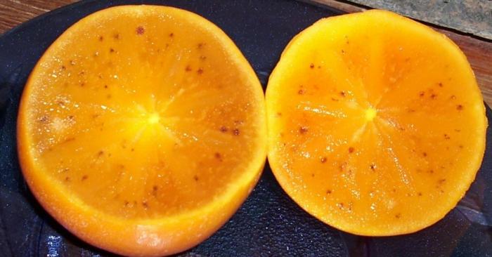 kaki essen sharon frucht halbiert