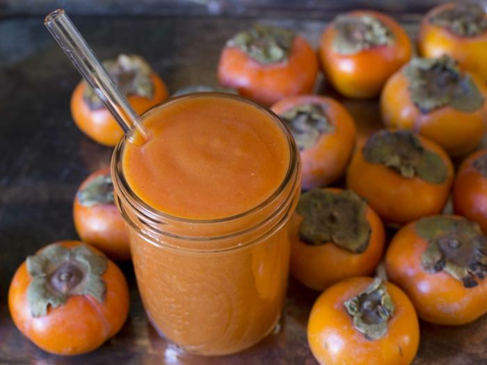 t kaki essen sharonfrucht stückchen khaki vitamine rezepte smoothy