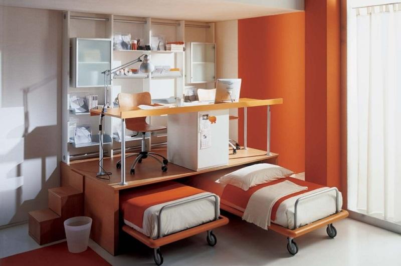 Kinderzimmer komplett Set platzsparende Kindermöbel Betten auf Rollen