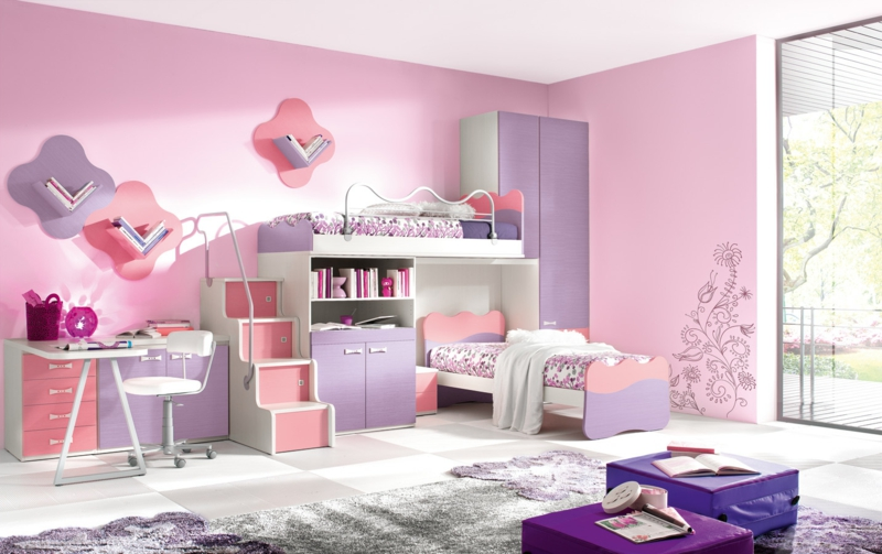 Mädchen Kinderzimmer komplett Set Wandfarbe Rosa